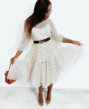 BNWT H&M Cream Spot Flock Print Mesh Midi Maxi Dress Size Medium Sold Out 12-14