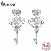 BAMOER Women S925 Sterling Silver Stud earrings AAA  Zircon Heartslock Jewelry
