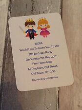 Personalised Prince/Princess Birthday Party Invitations Pk of 10 with envelopes