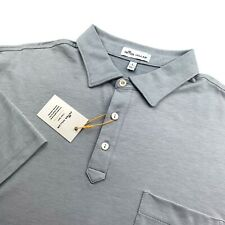Peter Millar Crown Sport Polo Golf Shirt Light Gray With Pocket Mens Large