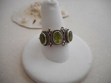 Vintage Sterling Silver Triple Peridot Ring size 9.25  RE3144