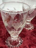 Vintage Anchor Hocking Etched Glasses Cordial Liquor Set of 5 Bead Edge Footed