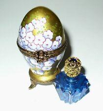 Limoges Box - Rochard - Gold Hydrangea Egg & Perfume Bottle - Blue Flowers - Mib