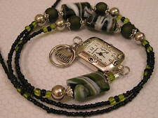 LANYARD NECKLACE HANDMADE BEADED ID BADGE HOLDER WITH WATCH AND LAUGH CHARM