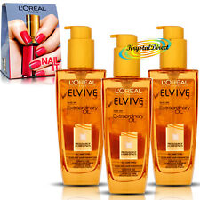 3x LOreal Elvive Extraordinary Oil All Hair Types 100ml Free Nail-it Gift Set