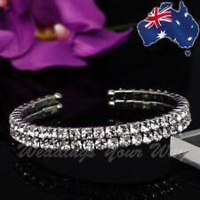 Diamante Silver Bracelet Wedding Formal Bridal Bridesmaid Crystal BR-1