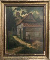 North Germany Oil Painting - K.Shepherd - Backyard - 20 1/8X17 5/16in