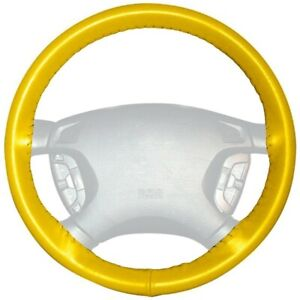Wheelskins Yellow Genuine Leather Steering Wheel Cover for Dodge (Size AX)