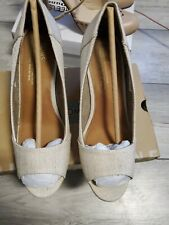 TOMS Nude Canvas Peep Toe Wedge Slip On Wedges ~ Size W8 (UK 6) ~ worn once