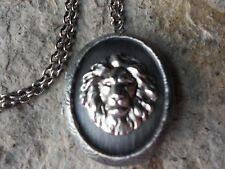 LION ANTIQUED SILVER PLATED LOCKET - AFRICA, LION'S HEAD, QUALITY, UNIQUE