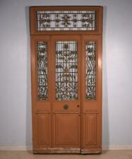 "80"" Tall (98"" with transom) Set of French Antique Oak Wood Exterior Doors"