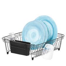 Compact Black Dish Drainer Rack With Plastic Utensil Holder