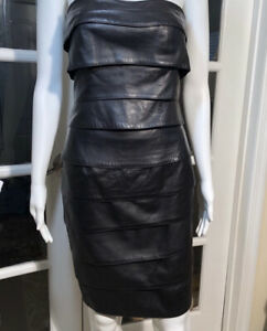 WOMENS VAKKO BLACK  LEATHER SLEEVELESS DRESS 2 *