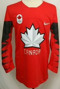 New $130 Canada Olympics Red Embroidered Nike Authentic Hockey Jersey Men's M