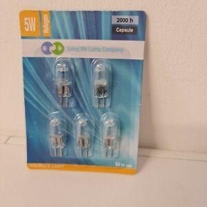 Long Life G4 Halogen Capsule Light Bulbs 12v - 5w  2000h (Pack of 5) get one fre