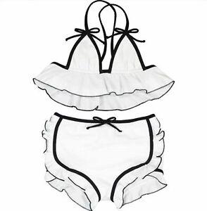 Simonetta Girls White Black Two Piece Bikini Set Age 6, 10 & 12 Junior Italy