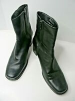 EASY SPIRIT  Black Leather Mid Calf Zipper Boots Size 8 1/2 B - Made In Brazil