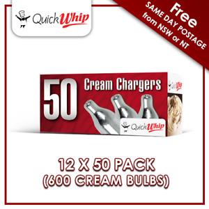 QuickWhip 8g N20 Bulbs - 50 PACK X 12 (600 CREAM CHARGERS) Pure Nitrous Oxide