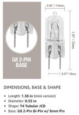 (9) Pack-G8 50W 120V Halogen Light Bulbs JCD Type