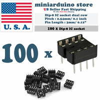 100pcs Dip-8 IC Socket Solder Type Double Row 8PIN DIP Integrated Circuit