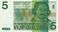 Vintage Netherlands 1973 5 Gulden AU/UNC Pick 95a  Joost van den Vondel