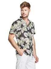$149 NWT GUESS Men's Tropical Print Button Down Short Sleeve Shirt Size L