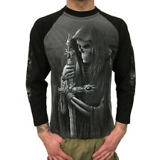 SPIRAL - Soul Searcher Contrast Longsleeve (Gothic Skull Shirt) schwarz/grau