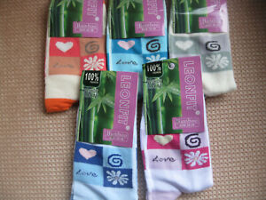 Ladies Bamboo socks by Leonfit, Love Logo, sizes 3-5, 5-7, 5 colours
