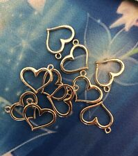 10 ROSE GOLD Plated  HEART CHARMS 15 mm wide Findings Jewellery making