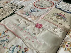 Lot 19 Vintage Embroidered Linens Pillowcases Doilies Needle Lace Use Repurpose
