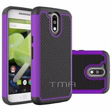 Fits Motorola Moto G4 Plus Case Rugged Shockproof Impact Hybrid Cover - Purple
