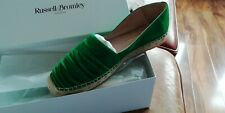 Russell  & Bromley Green Suede Ruffle Flat Espadrilles most sizes