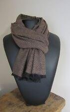 Echarpe homme  marron très chic motif chevron  laine&cachemire 190 X 69 cm