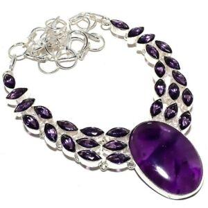 """Amethyst Sage, Amethyst Gemstone Silver Jewelry Necklace 18"""" MQR-375"""