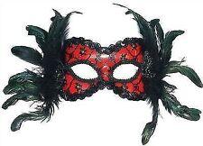 Bristol Novelty EM342 Eye Mask With Feathers on Headband Red and Black One Siz