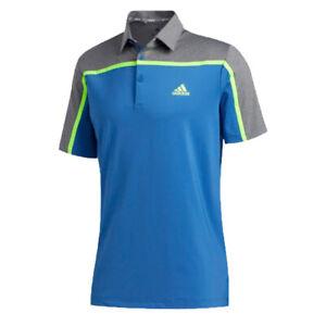 NEW Adidas Mens MEDIUM Ultimate365 Colorblock Polo Golf Shirt Blue Gray Yellow