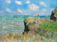 Art Oil painting Monet - Cliff walk young girls in landscape by the ocean