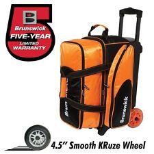 Brunswick Flash C 2 Ball Roller Bowling Bag with URETHANE WHEELS Orange