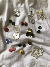 Lot of 40+ vintage buttons hearts Crowns Yellow Orange Blue White Green