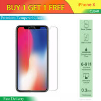 100% Genuine Tempered Glass Screen Protector Protection For Apple iPhone X -NEW