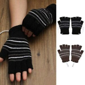 USB Heated Gloves Winter Thermal Hand Warmer Electric Heating Knitting Glove US