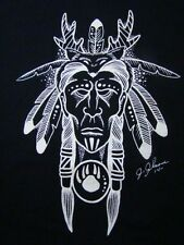 Native American Indian w/Feathers T-Shirt Large Black Cat Jack Johnson Art 2008