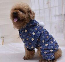 SOFT FLEECE DOG PET CAT PUP BLUE CREAM BROWN STAR PYJAMAS PLAY SUIT JUMPER HOOD