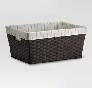 "THRESHOLD Large Lined Basket Dark Brown Weave | 17x12x8"" | Brown | 🆕"