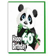 Panda 40th Birthday Card - Ladies Wife Girlfriend Sister Mum Friend Grandaughter