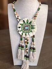 NWOT CHICO'S Chuky Green Wood Beaded Raffia Tassel Pendant STATEMENT Necklace