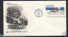 Salute to Auto Racing 1978 Usps First Day Issue 15 cent Stamped Envelope