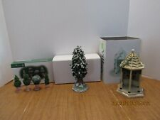 Dept 56 Lot Of 3 Accessories - Village Gazebo , Holly Tree & Holly Topiaries