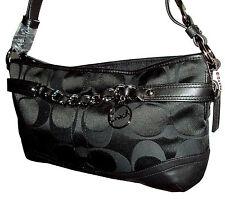 Coach East West Chain Duffle Handbag Purse #F19724 Signature Black Last One!
