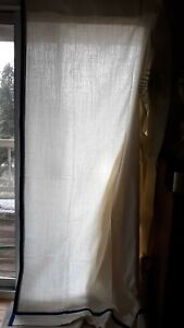 Exclusive Custom Made Modern Italy? Linen Blend Ivory Blue Border Drapes 90x118